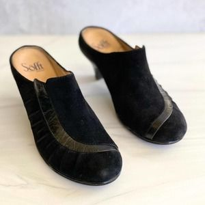 SOFFT Leather Round Toe Mules Black 6